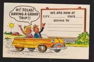 Comic Postcard - Woman & Man In Car Fill In The Blank Type - Unused