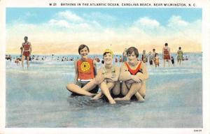 Carolina Beach North Carolina Bathing in Atlantic Ocean Antique Postcard J59181