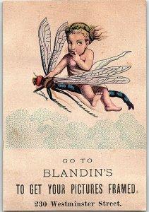Lot of 6 Fantasy Cherub Riding Dragon Fly Blandin's Victorian Trade Cards P120
