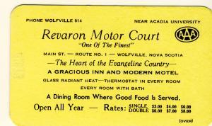 Wolfville, Nova Scotia, Canada, Revaron Motor Court Card