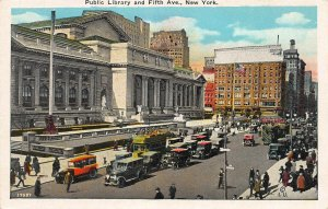 Public Library and Fifth Ave, Manhattan, New York, N.Y., Early Postcard, Unused