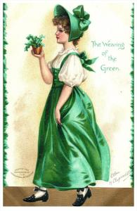 2317   St.Patricks  Day  Clappsaddle   Young Lady wearing of the Green