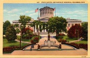 Ohio Columbus State Capitol and McKinley Memorial Curteich