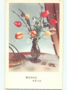 Very Old Foreign Postcard BEAUTIFUL FLOWERS SCENE AA4920