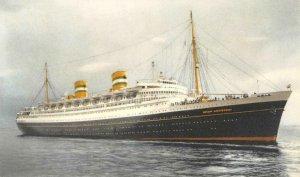 S.S. NIEUW AMSTERDAM Holland-America Line Steamship c1930s Vintage Postcard