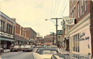 Westerly RI High Street Store Fronts Industrial Bank Old Cars Postcard