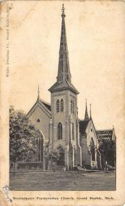 Grand Rapids Michigan~Westminster Presbyterian Church~Steeple~1907 B&W Postcard