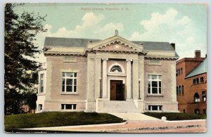Franklin New Hampshire~Carnegie Public Library~Central Street~1912 Postcard