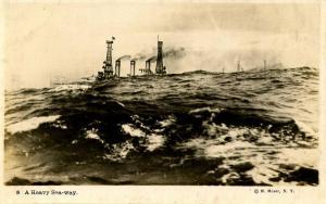 USS New Hampshire, 1916 - Maneuvering a heavy seaway - RPPC. Military
