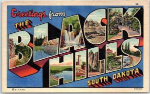 BLACK HILLS South Dakota Large Letter Postcard - Curteich Linen c1940s Unused