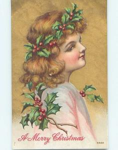 Pre-Linen PRETTY GIRL WITH CHRISTMAS HOLLY IN HER HAIR hk9892