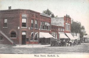 Sheffield Iowa~Main Street~Bank~Hardware~Men Talk by Vintage Cars~1912 Postcard