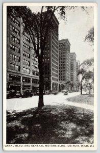 Detroit MI~B&W~GM? Car in Motion~Grand Boulevard & General Motors Building~