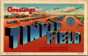 TINKER FIELD Oklahoma Large Letter Postcard Military AFB WWII Linen 1943 Cancel