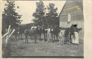 Chadwick ? Missouri~Men and Horses on the Farm~1912 Real Photo Postcard~RPPC