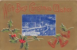 E86/ Carrollton Ohio Postcard Carroll Xmas 1920 Harbaugh Farm Bridge Fancy