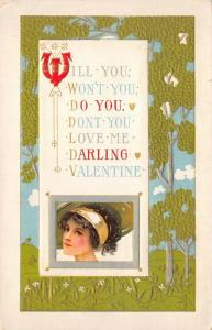Valentine~Pretty Lady in Wide Brim Hat~Will You~Won't You~Do You~Don't You~PC245