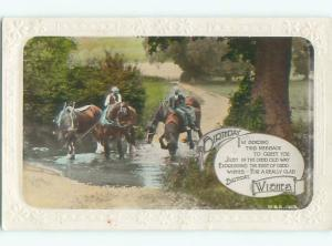 circa 1910 tinted rppc HORSES CROSSING STREAM o2634