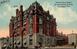 Ohio Cincinnati Grand Central Depot 3rd and Central Avenue 1910 Curteich