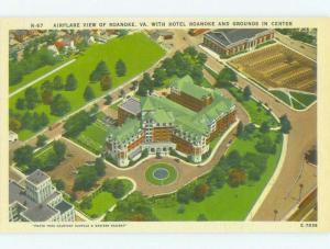 Unused Linen AERIAL VIEW OF ROANOKE HOTEL Roanoke Virginia VA hr7235-22
