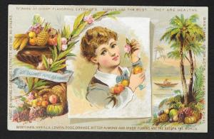 VICTORIAN TRADE CARD Bastine's Extracts Boy holding Fruit