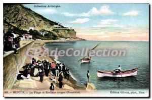 Old Postcard Menton Beach and Red Rocks Frontiere