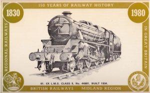 British Railways Midland LMS Class 5 44981 Train Anniversary Postcard