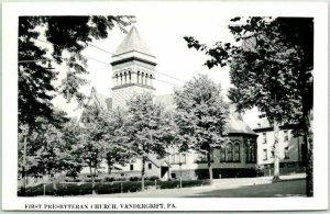 VANDERGRIFT, Pennsylvania RPPC Photo Postcard FIRST PRESBYTERIAN CHURCH 1952