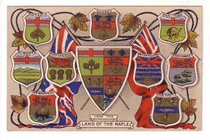 Canada, Provincial Shields, Land of the Maple, Lovely Embossed Patriotic
