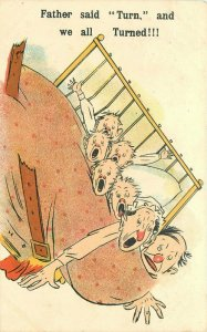 Accident Comic Humor ML Art  Publishers C-1910 Family bed Postcard 20-1152
