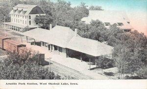LPS52 WEST LAKE OKOBOJI Iowa Arnolds Park Station Aerial View Postcard