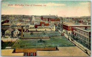 Hammond, Indiana Postcard Bird's-Eye View Downtown w/ 1912 Cancel