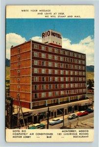 Chrome View of Hotel Rio, Cars, Mountains, Monterrey Mexico, Postcard X23