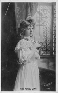 Miss Mabel Love~State Actress Muses By Window~Pipe Curls~1908 Real Photo~RPPC