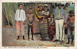 Indian Family, Island of Carti, San Blas, Panama, Early Postcard, Unused