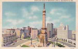 Indiana Indianapolis Birds Eye View Of Monument Circle Curteich