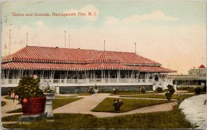 Casino and Grounds Narragansett Pier RI c1915 DPO Cancel Postcard F42