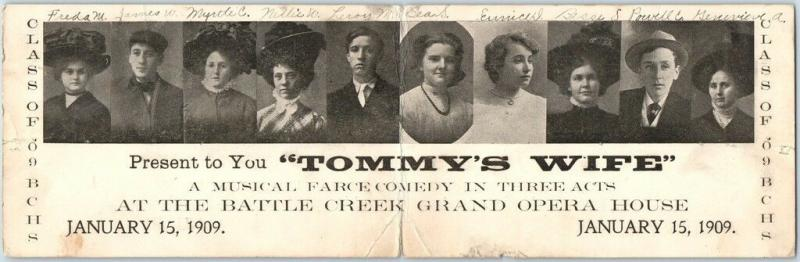 1909 BATTLE CREEK, Iowa 2-Panel Adv. Postcard TOMMY'S WIFE Grand Opera House