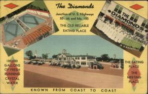 Roadside Linen Route 66 50 & Missouri 100 THE DIAMONDS Crystal Water Postcard