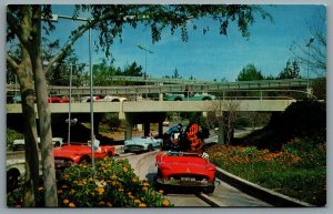 Postcard Anaheim CA c1967 Disneyland Tomorrowland Super Autopia Defunct 1-331