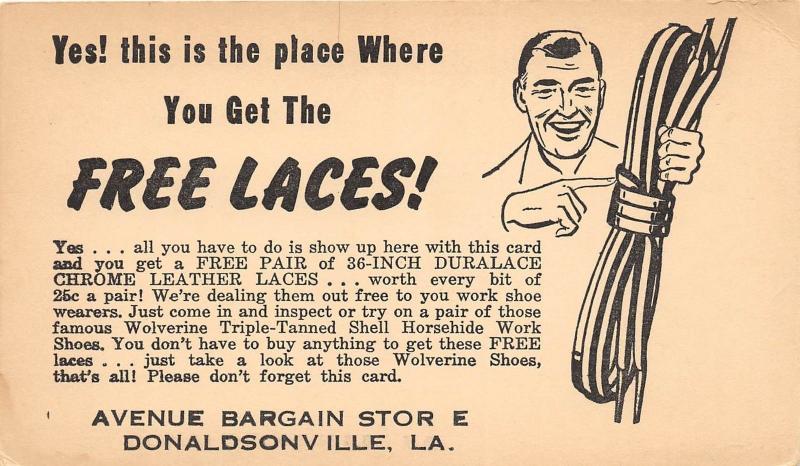 D94/ Donaldsville Louisiana La Postcard c1930s Avenue Bargain Store Shoe Laces