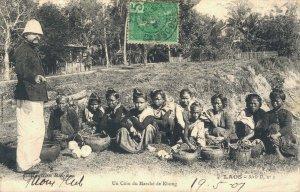 Laos Un Coin du Marché de Khong Indochine 03.79