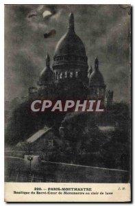 Postcard Old Paris Montmartre Basilique du Sacre Coeur in Montmartre At Moonl...