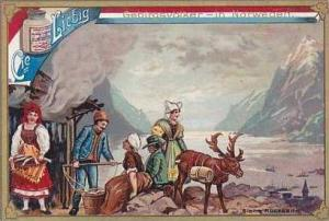 Liebig Vintage Trade Card S490 Mountain People I  1896 No 2 Norway
