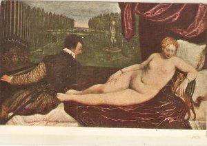 TIZIANO. Venus and the Music Fine art, painting, vintage spanish postcard