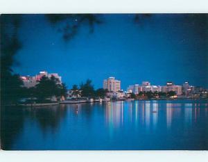 Unused Pre-1980 NIGHT VIEW OF SKYLINE Miami Beach Florida FL Q8801