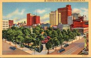 Florida Jacksonville Hemming Park and Skyline Curteich