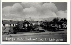 Livingston, Montana Postcard Long's Auto Deluxe Court Roadside w/ 1953 Cancel