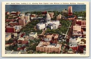 Madison Wisconsin~Birdseye Lakefront State Capitol~1940s Linen Postcard