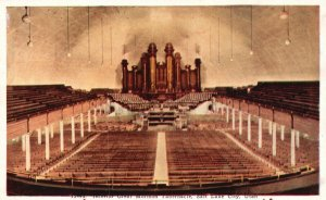 Salt Lake City, Utah, UT, Interior, Mormon Tabernacle, Vintage Postcard g9239
